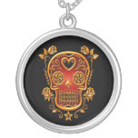 Sugar Skull with Roses, yellow and red Round Pendant Necklace