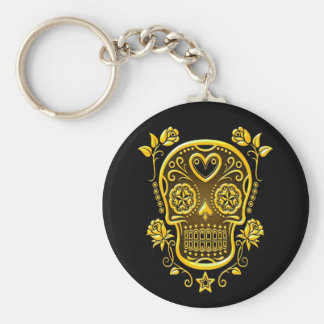 Sugar Skull with Roses, yellow Keychain