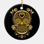Sugar Skull with Roses, yellow Christmas Tree Ornaments