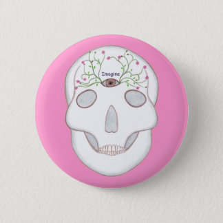 Sugar Skull with Third Eye and Flower Buds Buttons