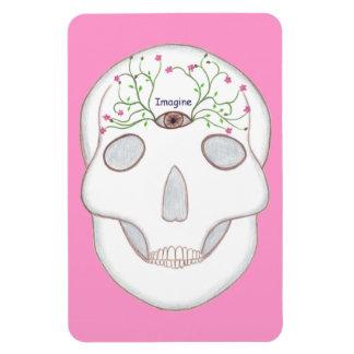 Sugar Skull with Third Eye, Flower Buds Magnets