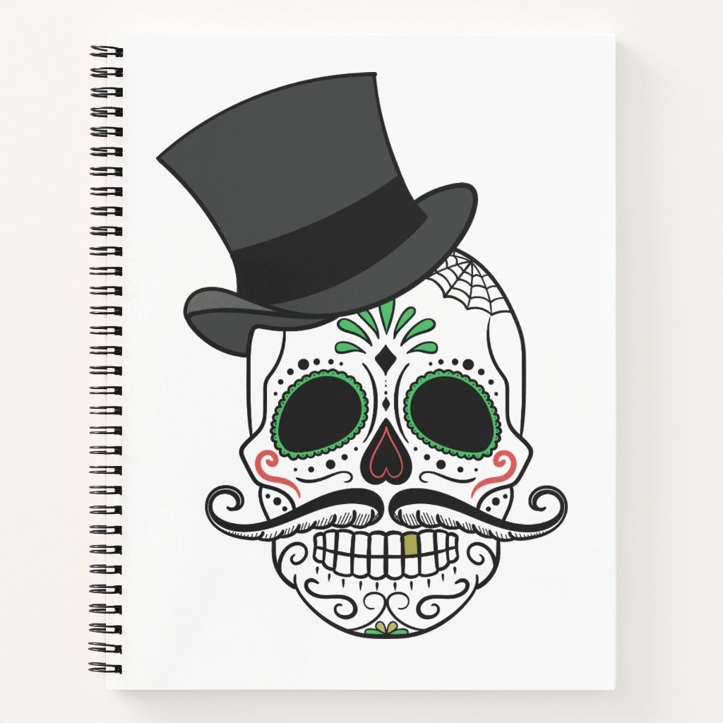 Sugar Skull with Tophat Notebook