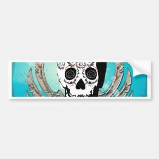 Sugar skull with wings made of metal car bumper sticker