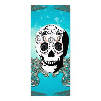 Sugar skull with wings made of metal card