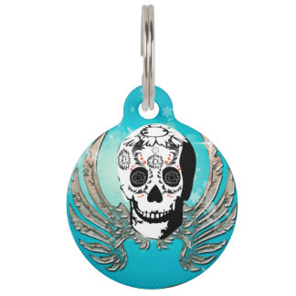 Sugar skull with wings made of metal pet name tag