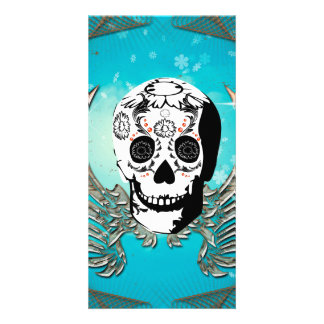 Sugar skull with wings made of metal picture card