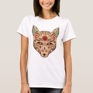 Sugar Skull Wolf Head Tan Mauve Rose T-Shirt