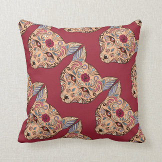 Sugar Skull Wolf Head Tiled On Dk Red Background Throw Pillows
