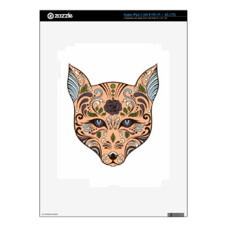 Sugar Skull Wolf Mauve Rose Blue Tips Decal For iPad 3