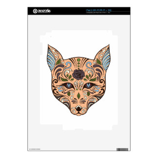 Sugar Skull Wolf Mauve Rose Blue Tips Skin For The iPad 2