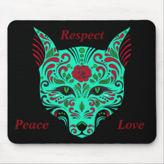 Sugar Skull Wolf Red Teal and Black Mouse Pad
