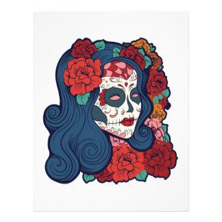 Sugar Skull Woman Red Roses In Hair Letterhead