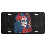 Sugar Skull Woman Red Roses In Hair License Plate at Zazzle