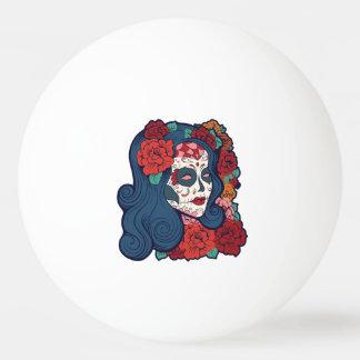 Sugar Skull Woman Red Roses In Hair Ping-Pong Ball