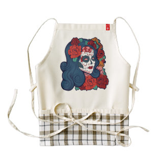 Sugar Skull Woman Red Roses In Hair Zazzle HEART Apron