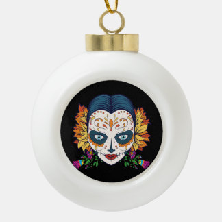 Sugar Skull Woman With Orange and Purple Flowers Ceramic Ball Christmas Ornament