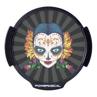 Sugar Skull Woman With Orange and Purple Flowers LED Car Decal