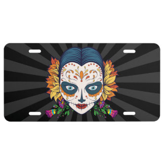 Sugar Skull Woman With Orange and Purple Flowers License Plate