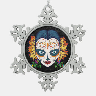 Sugar Skull Woman With Orange and Purple Flowers Snowflake Pewter Christmas Ornament