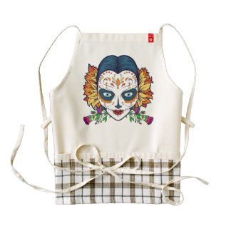 Sugar Skull Woman With Orange and Purple Flowers Zazzle HEART Apron
