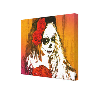 Sugar Skull Woman with Roses Art Stretched Canvas Print