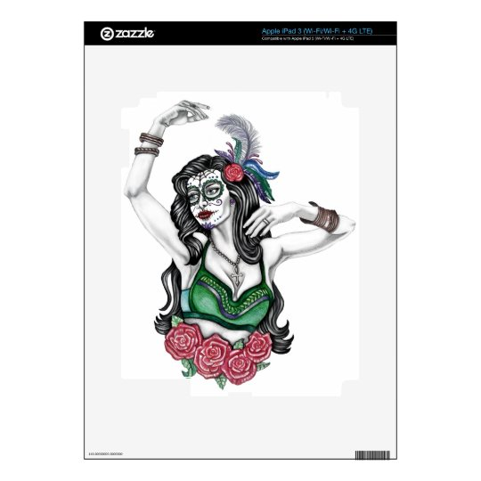Sugar Skull Woman with Roses iPad 3 Decals
