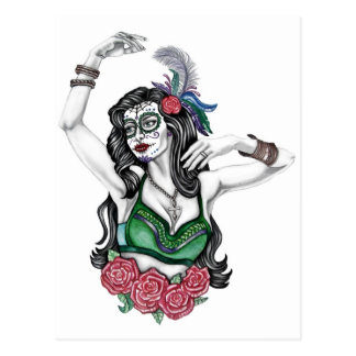 Sugar Skull Woman with Roses Postcard