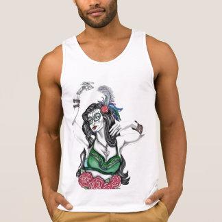 Sugar Skull Woman with Roses Tank Top