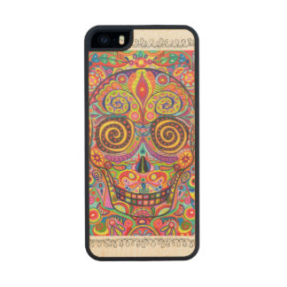Sugar Skull Wood Phone Case For iPhone SE/5/5s