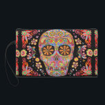 "Sugar Skull Wristlet Purse<br><div class=""desc"">This Sugar Skull bag (clutch bag,  wristlet cosmetic bag or accessory bag) features a colorful psychedelic calavera celebrating Mexico's Day of the Dead,  or Dia de los Muertos. The funky design for this Sugar Skull bag is based on the artwork of Thaneeya McArdle.</div>"