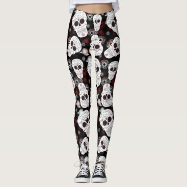 Halloween Themed Sugar Skulls And Flowers Leggings