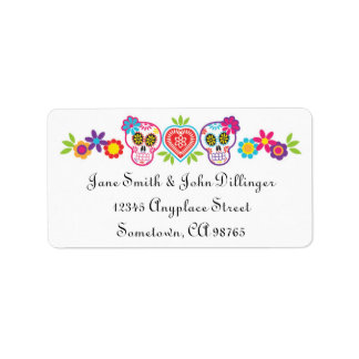 Sugar Skulls and Flowers Return Address Label