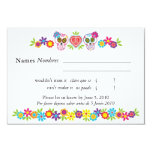 "Sugar Skulls and Flowers RSVP Card 3.5"" X 5"" Invitation Card"