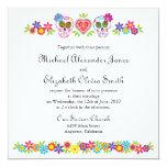 "Sugar Skulls and Flowers Wedding Invitation 5.25"" Square Invitation Card"