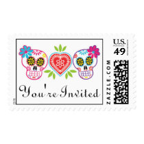 Sugar Skulls and Flowers Wedding Postage