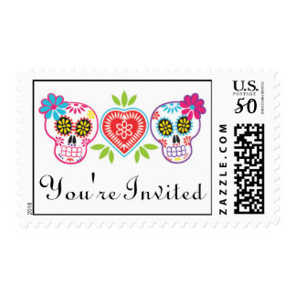 Sugar Skulls and Flowers Wedding Postage