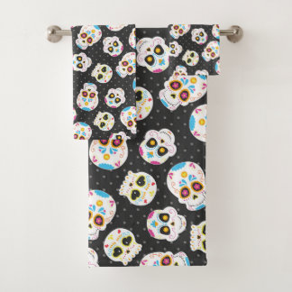 Sugar Skulls and Polka Dots on Black Bath Towel Set