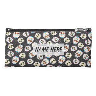 Sugar Skulls and Polka Dots on Black Personalized Pencil Case
