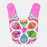 Sugar Skulls Baby Bib - Colorful Art