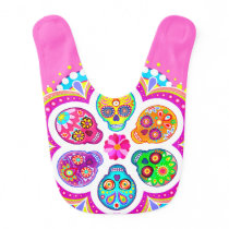 Sugar Skulls Baby Bib - Colorful Art