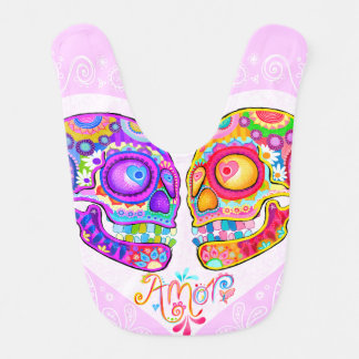 Sugar Skulls Baby Bib - Colorful Skulls in Love