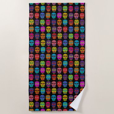 Beach Themed Sugar Skulls Beach Towel