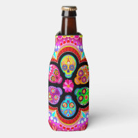 Sugar Skulls Bottle Cooler - Day of the Dead Art