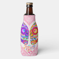 Sugar Skulls BottleCooler - Day of the Dead Bottle Cooler