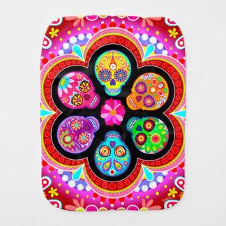 Sugar Skulls Burp Cloth - Colorful Art