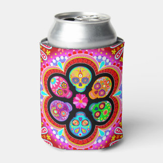 Sugar Skulls Can Cooler - Day of the Dead Art