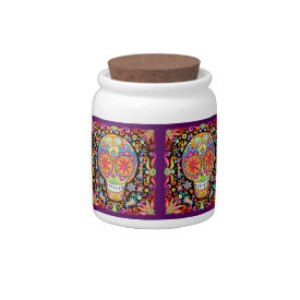 Sugar Skulls Candy Jar Day of the Dead at Zazzle