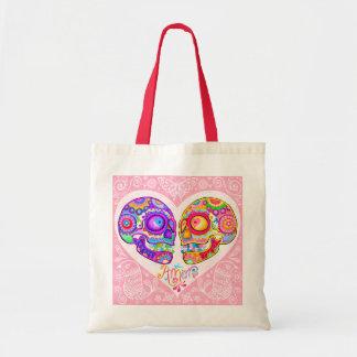 Sugar Skulls Couple Tote Bag - Love Heart Art