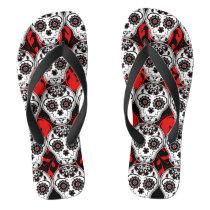 Sugar skulls Day of the Dead pattern super cute Flip Flops