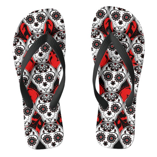 Sugar skulls Day of the Dead pattern super cute Flip Flops